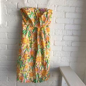 Lilly Pulitzer Wyatt Strapless Floral Dress sZ 6